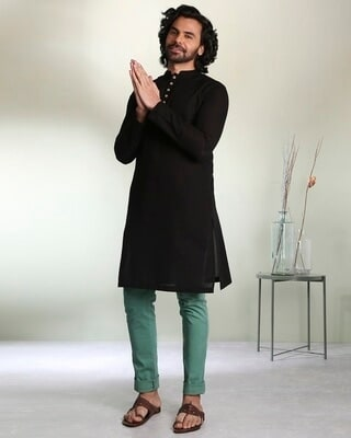 Shop Men's Solid Black Long Kurta-Front