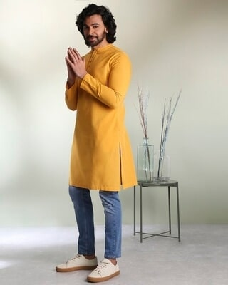 Shop Men's Solid Mustard Long Kurta-Front