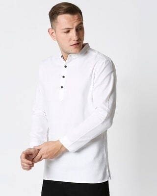 Shop Men's Solid Relaxed Short Mandarin White Kurta-Front