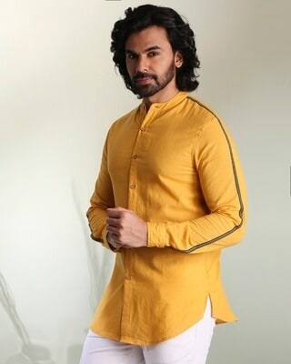 Shop Men's Solid Sky Yellow Tape Shirt-Front