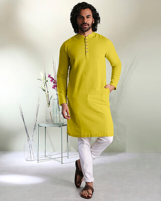 Shop Men's Solid Warm Olive Long Kurta-Front