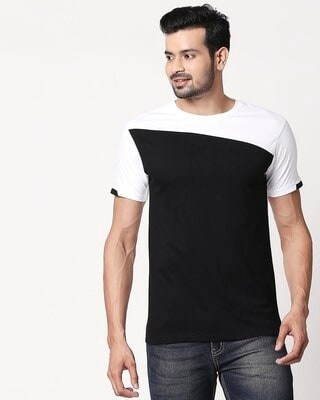 Shop Men's Sport Sleeve Colorblock T-shirt(Black-White)-Front