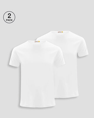 Shop Men's Plain Half Sleeve Pack of 2 (White)-Front