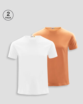 Shop Men's T-Shirts Pack of 2 (White & Orange Rush)-Front