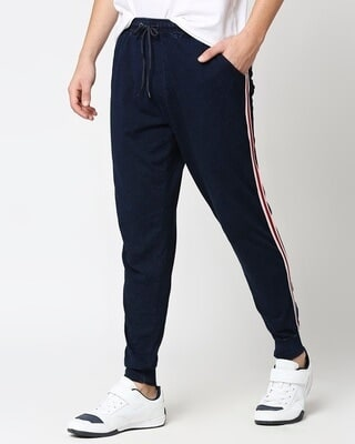 Shop Men's True Indigo Joggers with Side Tape-Front