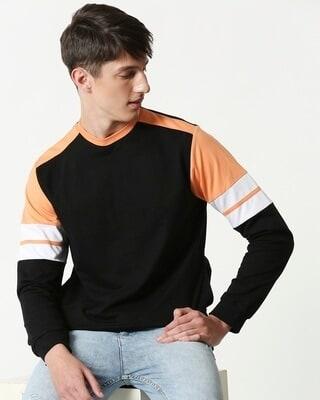 Shop Orange Rush Colorblock Fleece Sweatshirt-Front