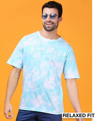 Shop Beach Blue Tie & Dye Print Relaxed Fit Half Sleeve T-Shirt-Front