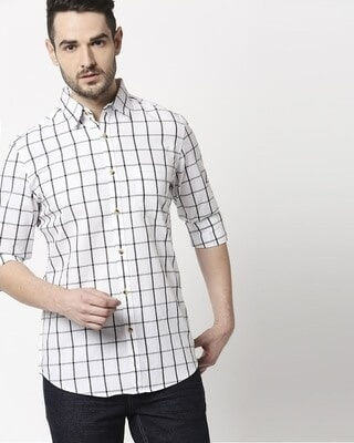 Shop Men's White Checks Slim Fit Casual Shirt-Front