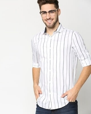 Shop White Stripe Slim Fit Casual Shirt-Front