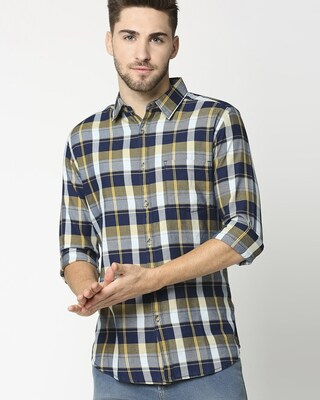 Shop Men's Yellow Slim Fit Casual Indigo Shirt-Front