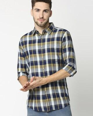 Shop Men's Yellow Slim Fit Casual Indigo Shirt-Front