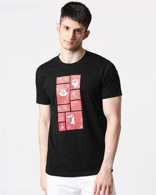 Shop Men Santa Chest Printed Half Sleeves Black T-shirt-Front