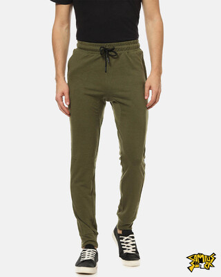 Shop Campus Sutra men's Solid Joggers-Front