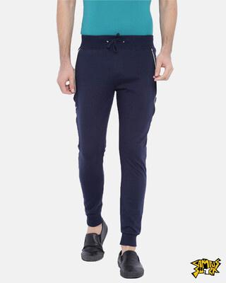 Shop Campus Sutra men's Stylish Blue Joggers-Front