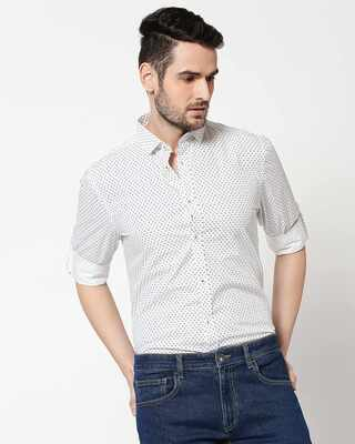 Shop Men White AOP Slim Fit Casual Shirt-Front