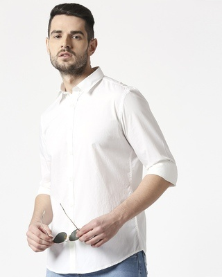 Shop Men White Poplin Lycra Slim Fit Casual Shirt-Front