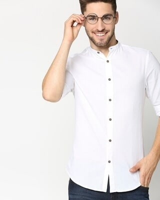 Shop White Seersucker Slim Fit Casual Shirt-Front
