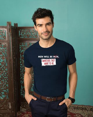Shop Men Will Be.. Half Sleeve T-Shirt Navy Blue-Front