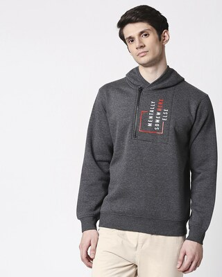 Shop Mentally Somewhere Else ! Stylised Zip Hoodie Sweatshirt-Front