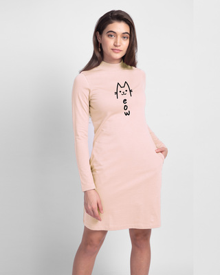 Shop Meow 2.0 High Neck Pocket Dress Baby Pink-Front