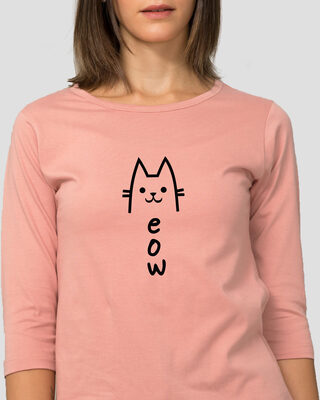 Shop Meow 2.0 Round Neck 3/4 Sleeve T-Shirts Misty Pink-Front