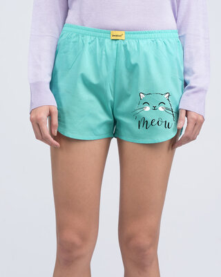 Shop Meow Kitty Side Printed Boxer-Front