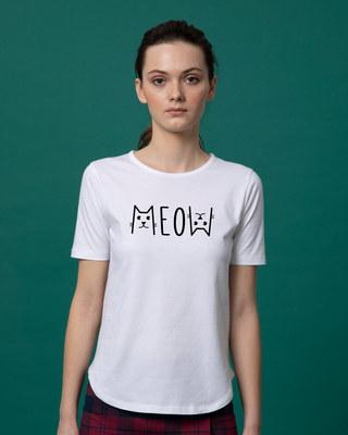Shop Meow Typo Basic Round Hem T-Shirt-Front