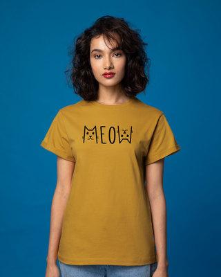 Shop Meow Typo Boyfriend T-Shirt-Front