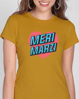 Shop Meri Marzi Half Sleeve Printed T-Shirt Mustard Yellow -Front