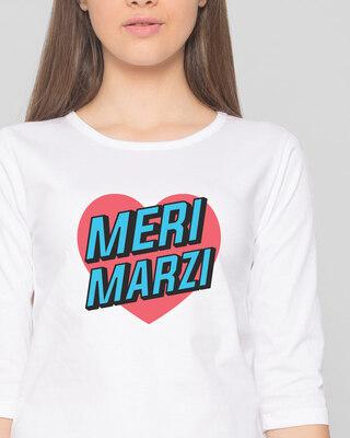 Shop Meri Marzi Round Neck 3/4 Sleeve T-Shirts White -Front