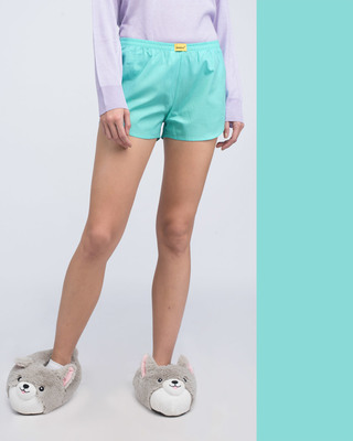 Shop Beach Blue Plain Boxer-Front