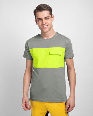 Shop Meteor Grey & Neon Green 90's Vibe Cargo Pocket T-Shirt-Front