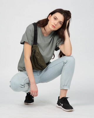 Shop Meteor Grey Boyfriend T-Shirt-Front