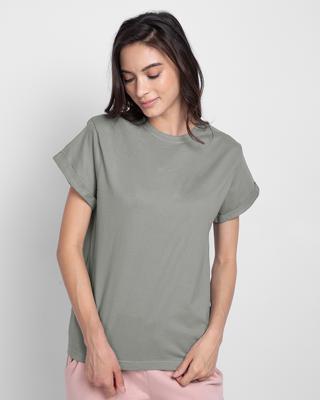 Shop Meteor Grey Boyfriend T-Shirt-Front