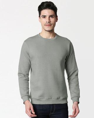 Shop Meteor Grey Fleece Sweater-Front