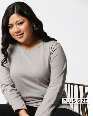 Shop Meteor Grey Full Sleeve Plus Size T-Shirt-Front