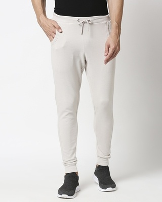 Shop Meteor Grey Men's Plain Casual Jogger With Elastic at Ankle-Front