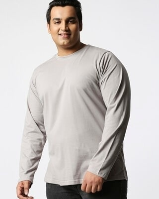 Shop Meteor Grey Plus Size Full Sleeve T-Shirt-Front