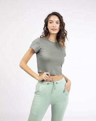 Shop Meteor Grey Round Neck Crop Top T-Shirt-Front