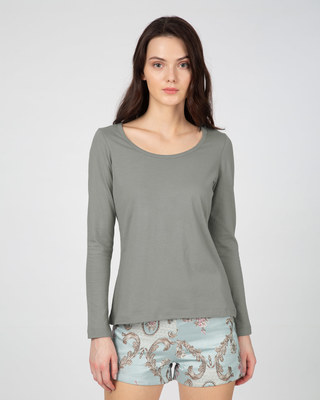 Shop Meteor Grey Scoop Neck Full Sleeve T-Shirt-Front