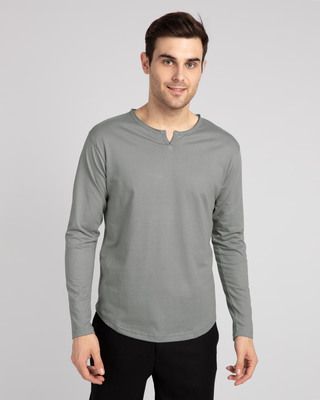 Shop Meteor Grey Slit Neck Full Sleeve Henley T-Shirt-Front