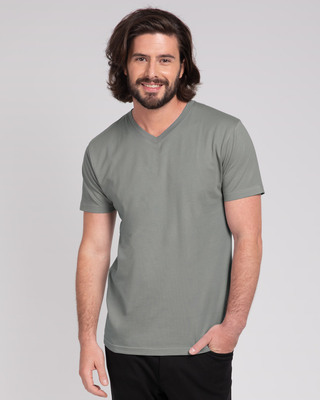 Shop Meteor Grey V-Neck T-Shirt-Front