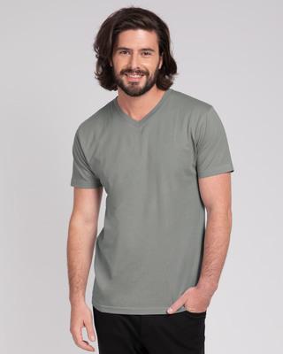 Shop Meteor Grey V-Neck T-Shirt-Front