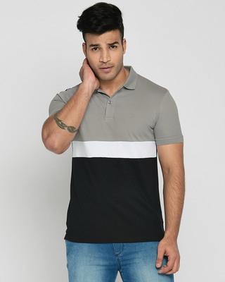 Shop Meteor Grey-White-Black Triple Block Polo T-Shirt-Front