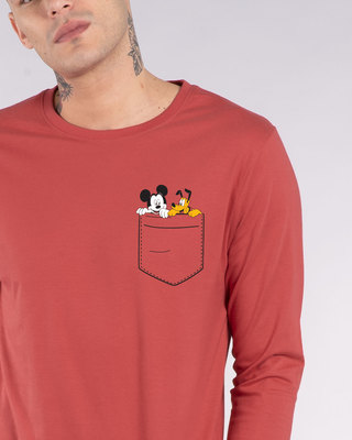 Shop Mickey And Pluto Full Sleeve T-Shirt (DL)-Front