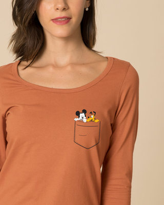 Shop Mickey And Pluto Scoop Neck Full Sleeve T-Shirt (DL)-Front