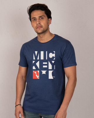 Shop Mickey Blocks Half Sleeve T-Shirt (DL)-Front