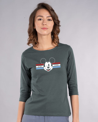 Shop Mickey Cool Round Neck 3/4th Sleeve T-Shirt (DL)-Front