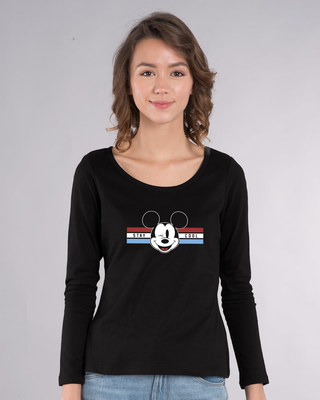 Shop Mickey Cool Scoop Neck Full Sleeve T-Shirt (DL)-Front