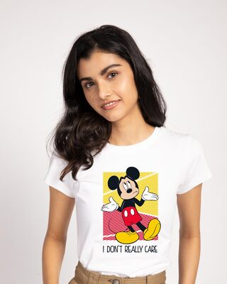 Shop Mickey Don't Care Half Sleeve T-Shirt (DL)-Front